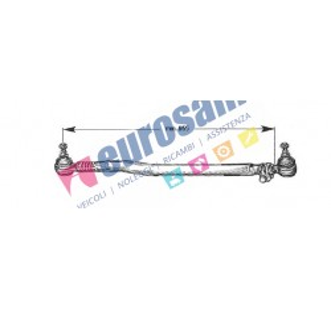 TIRANTE STERZO LONGITUDINALE COMPLETO DI TESTINE PER AUTOCARRO MAN F2000 - E2000 - F90